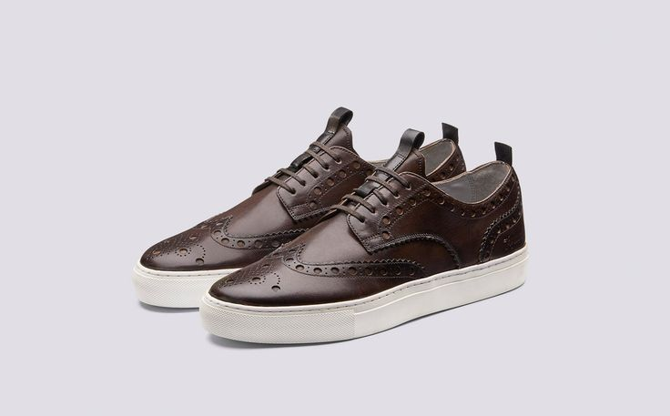 Sneaker 3 | Mens Brogue Sneaker in Brown Hand Painted Calf Leather with a White Rubber Sole | Grenson Shoes - Three Quarter View
