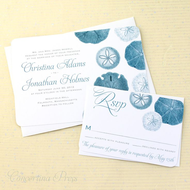 Sand Dollar Beach Wedding Invitation - by Concertina Press