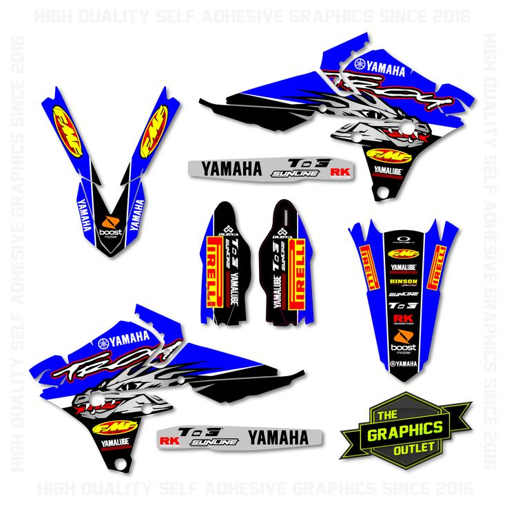YAMAHA YZF250 / YZF450 2014 -16 - TROY FACTORY REPLICA - SPLIT KIT MOTOCROSS GRAPHICS - BLUE & BLACK VERSION
