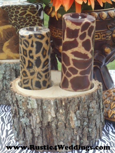 #Sarfari #Wedding #Centerpieces #Animal #Print #Wood #Candle #Holders #Stumps-Safari Wedding Centerpiece Ideas. Stumps and candle holders for sale.
