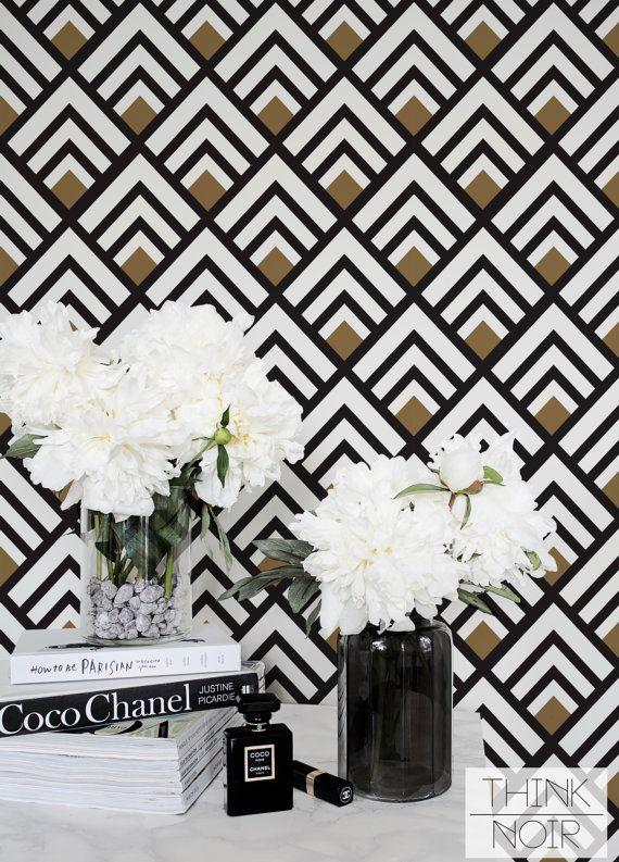 Geometric Removable Wallpaper / Trendy Self Adhesive / Regular Wallpaper / Geometric Wall Mural / Art Deco