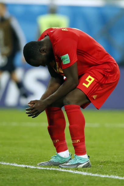 cf6515e0f Belgium s forward Romelu Lukaku reacts on the sideline during the Russia 2018  World Cup semifinal football match between France and Belgium at the.