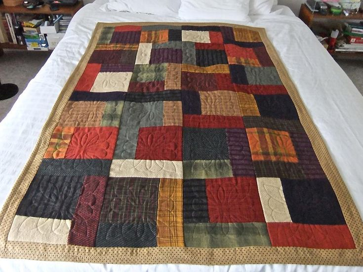 Quilting: Flannel Quilt- I like the big blocks with embroidered quilting..