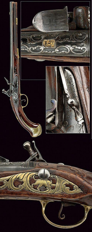A flintlock pistol by G. Banchi, dating: late 18th Century  provenance: Brescia .
