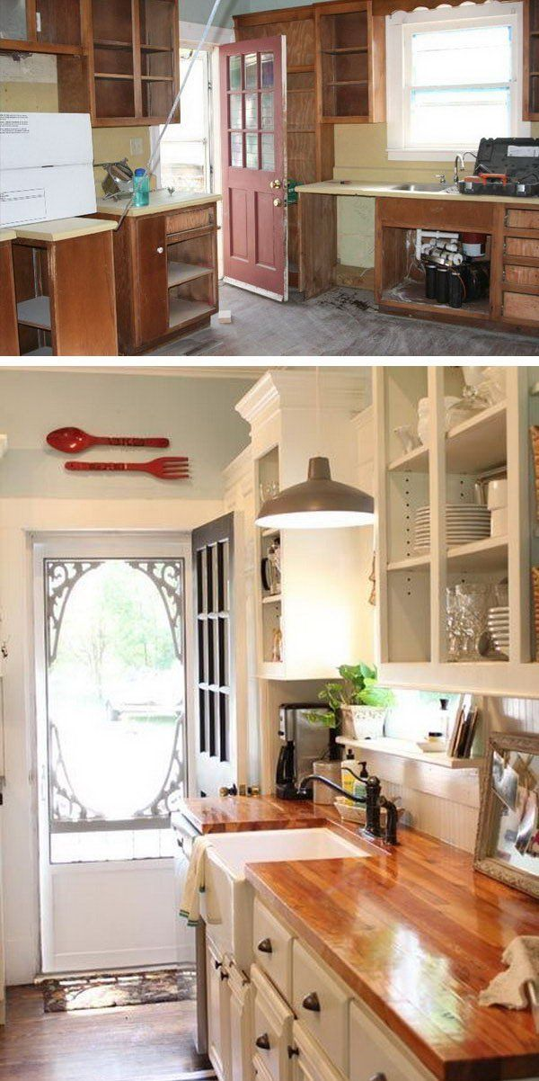 Before and After: Customed Cabinet Door. In this kitchen remodeling you'll see how an 100 year old farmhouse kitchen turned to a modern stylish space. Love the countertops, sink and fixtures.