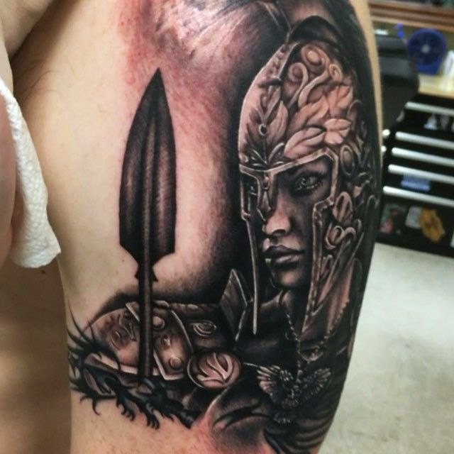 Ayyee check it out. Athena the goddess of strategy for tonight's sleeve starter. I love Greek stuff! #tattoo ...