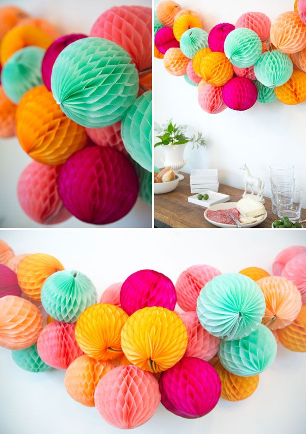 Honeycomb Garland DIY. #diy #crafts