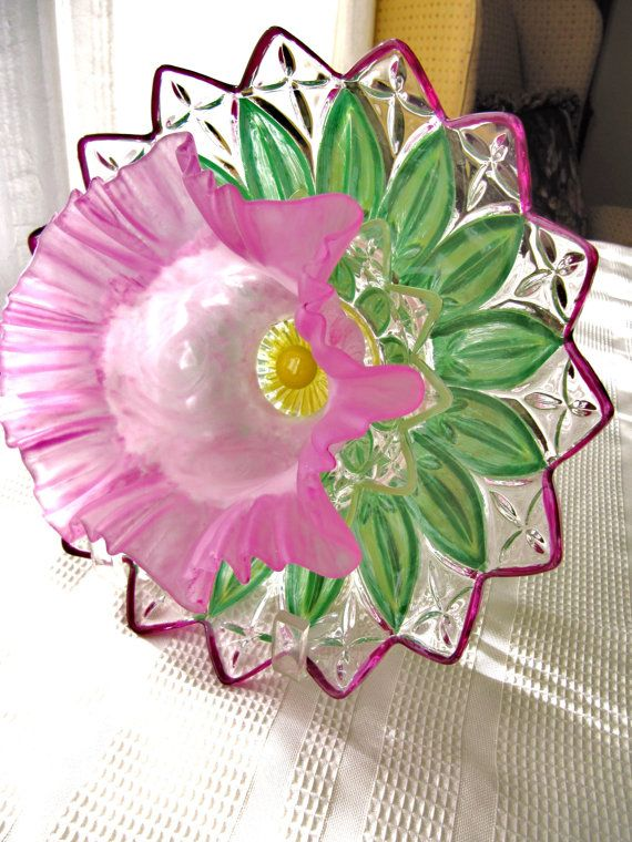vintage glass garden art plate flower glass art by ADelicateTouch1: