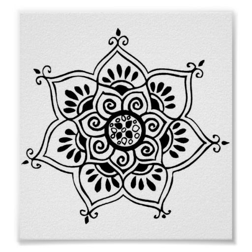 lotus flower tribal tattoo poster - Small Designs