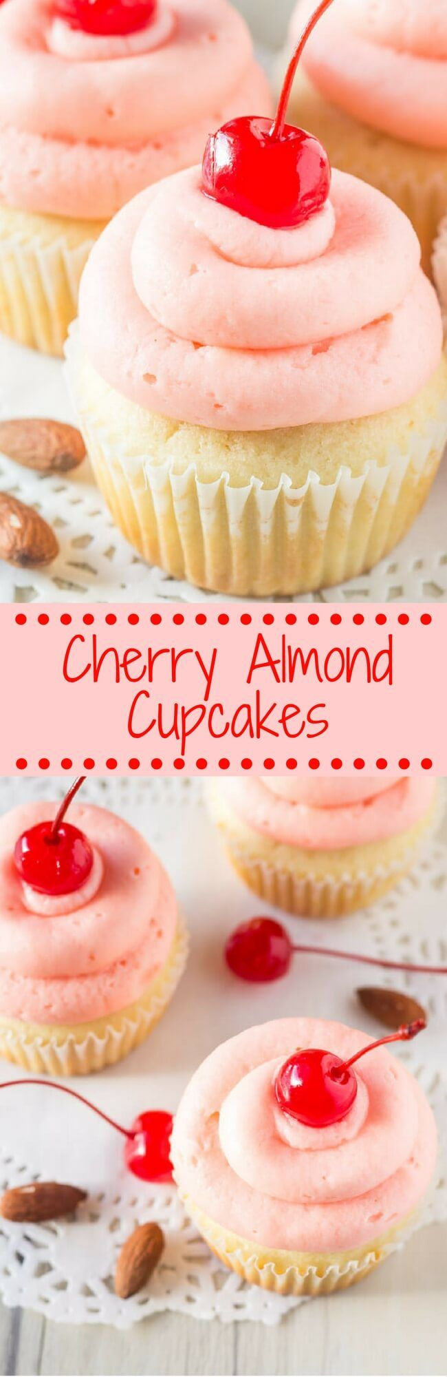 Cherry Almond Cupcakes start with fluffy, moist almond cupcakes. Then they're topped with maraschino cherry frosting for the prettiest cupcake. | Just So Tasty