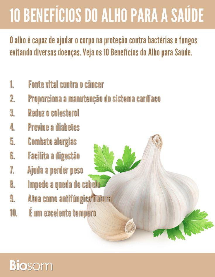Clique na imagem e veja os 10 benefícios do alho para a saúde. #alho #verdura #benefício #infográfico #saúde #alimentação #bemestar