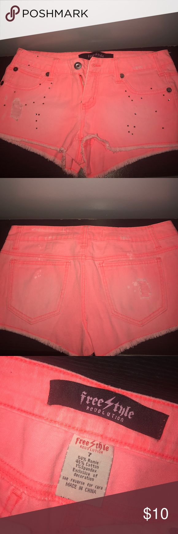 Neon coral jean shorts Freestyle size 7 neon coral jean shorts with rhinestone and ripped details. Great condition! Freestyle Shorts