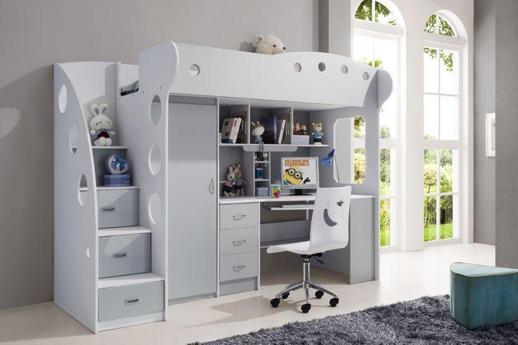 Lit multifonction pour enfant coloris gris et blanc - Comforium
