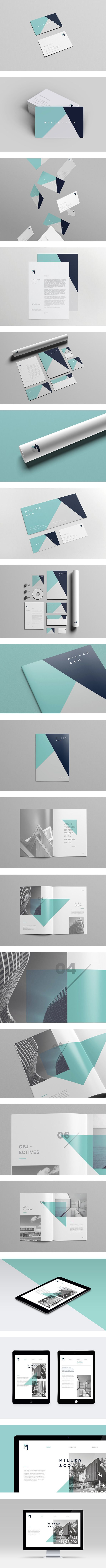 Complete identity for Miller & Co, a fictional architecture firm. Miller & Co is a young team of multi award winning architects based in Sydney, Australia. They specialise in residential and commercial projects of high quality and detail which are sensitive to context.   by sudio 361  #branding #identity