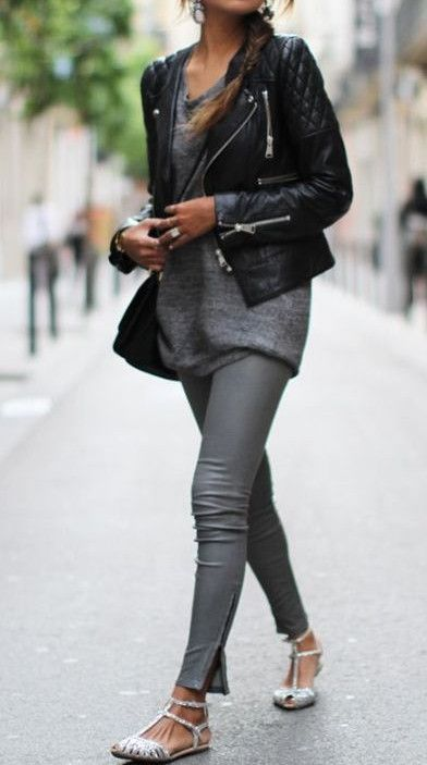 Street Style / gray leggings   gray tunic   leather jacket
