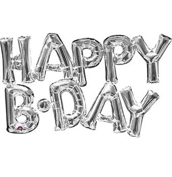 Celebrate a birthday party with these fun mylar balloons! These silver balloons spell out 'HAPPY B-DAY' and can be inflated by just blowing into them - no helium needed.