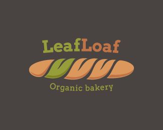 LeafLoaf Logo design by somebodyhere - The logo marks depicts a loaf of wheat bread with one section replaced by a green leaf. The logo was primarily designed for bakeries, but can also be used by healthy food blogs and magazines, grocery stores etc. #bread #baking #bakery #logo #design #BrandCrowd