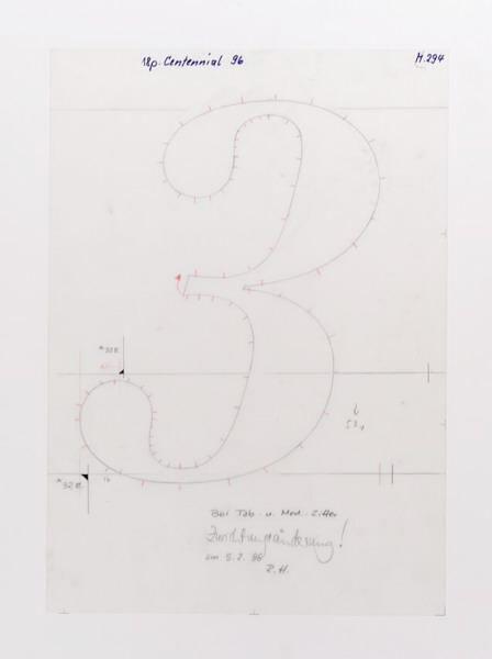 """Adrian Frutiger, """"3″, Linotype GmbH, Bad Homburg, 1985-1989, Zürcher Hochschule der Künste / Museum für Gestaltung Zürich"""