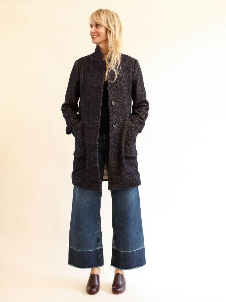 Pomandère - Italian Wool Coat - Navy Tweed
