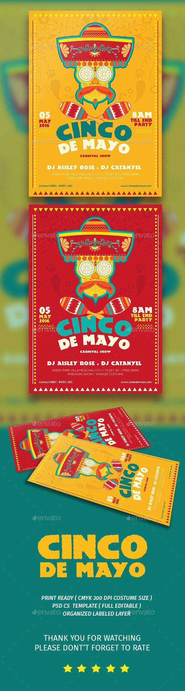 Cinco De Mayo Flyer Template PSD. Download here: http://graphicriver.net/item/cinco-de-mayo-flyer/15797285?ref=ksioks