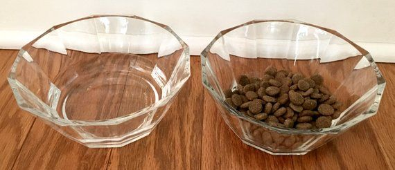 Clear Optic Glass Bowls Vintage Bormioli Oxford Italian Faceted
