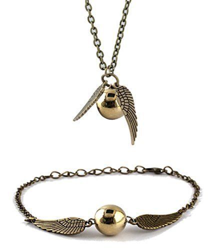 Chamber37 Bronce de Ángel Moderna con Perlas de imitación oro - Set de Collar y Pulsera/Tobillera