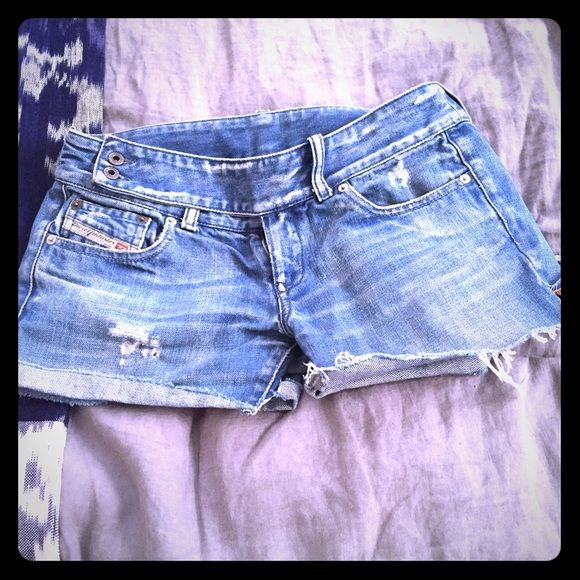 Soft, comfortable Diesel denim cutoff's Worn once previously for major television show these soft diesel denim cut off's are adorable and one of a kind! Diesel Shorts Jean Shorts
