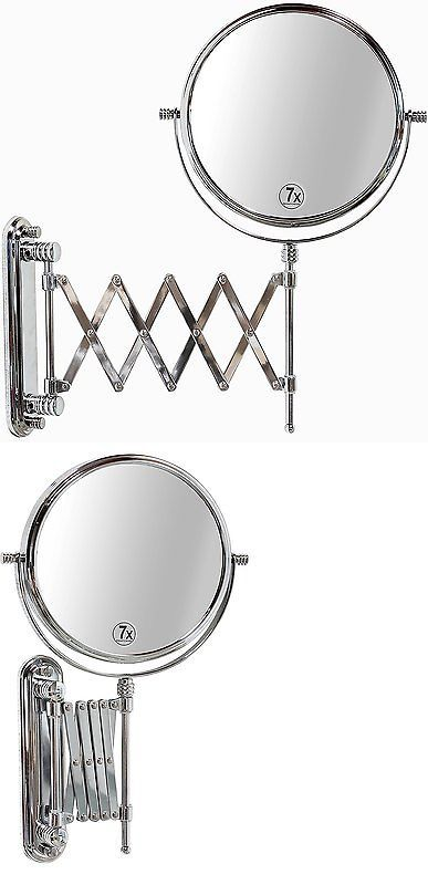 Makeup Mirrors: 2 Sided Makeup Mirror Wall Arm Shaving Swivel Magnifying Extendable Bathroom 7X -> BUY IT NOW ONLY: $32.1 on eBay!