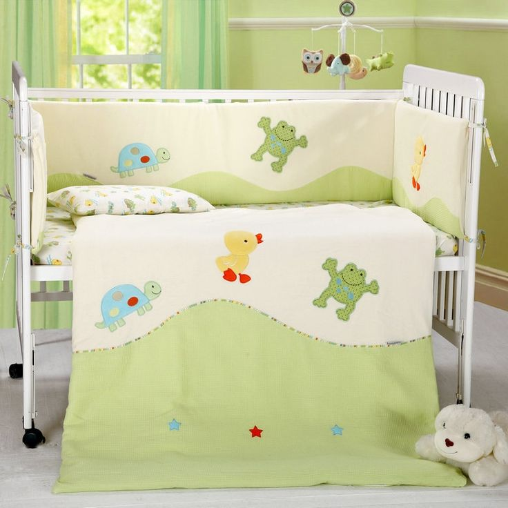 101.32$  Buy here - http://aliuet.worldwells.pw/go.php?t=32563570017 - 7 Pc Crib Infant Room Kids Baby Bedroom Set Nursery Velvet Cotton Bedding Green Beige cot bedding set for newborn baby boy girl 101.32$