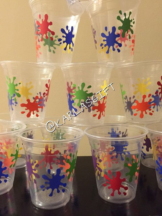 10 12 oz. Custom Paint Party Disposable Cups Lids & by KarlasGift