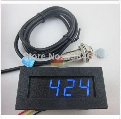 4 Digital Blue LED Tachometer RPM Speed Meter+Hall Proximity Switch Sensor NPN
