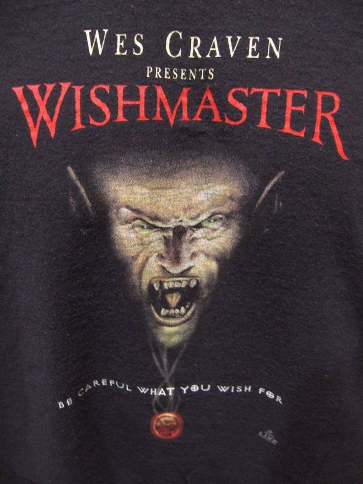 Vintage Wes Craven The Wishmaster Horror Movie T-Shirt Size XL 90s 1997 Black #AllSport #GraphicTee