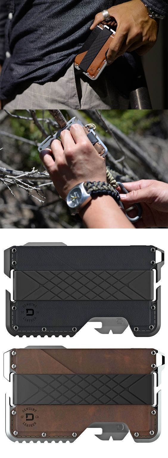 Dango Products EDC Everyday Carry TACTICAL WALLET + MULTI-TOOL in Leather Anodized Aluminum @aegisgears