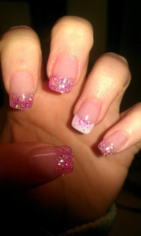 Pink & White Sparkly Nails