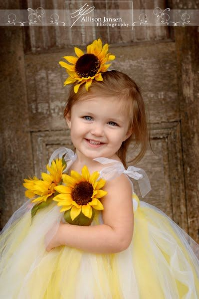 """sunflower flower girl..so cute!! Search for the """"Sunflower Wedding Themed ideas!"""" board for fall color combinations."""