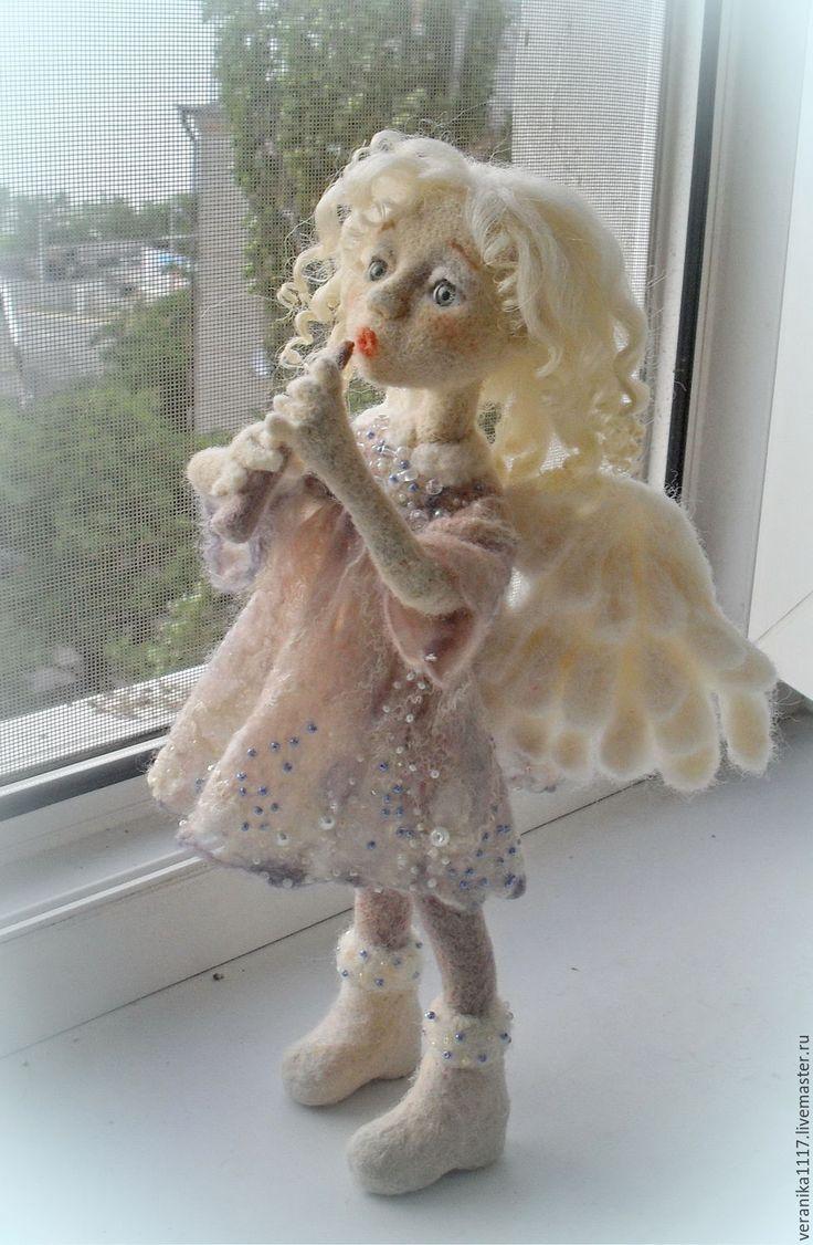 """Купить Кукла из шерсти """"Утренний Ангел"""" - белый, кукла ручной работы, ангел-хранитель"""