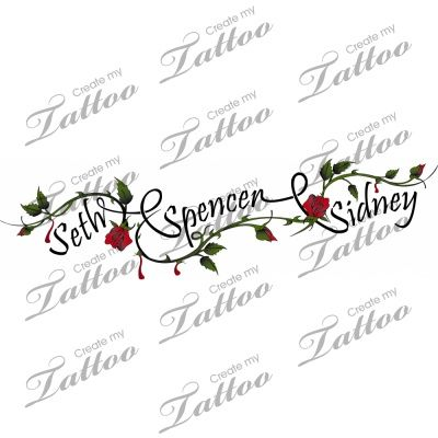 children's names tattoo. I would want mine going down my arm or wrap around my arm