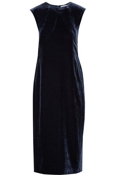 Navy velvet Concealed hook and zip fastening at back 80% viscose, 20% silk; lining: 100% polyester Dry clean