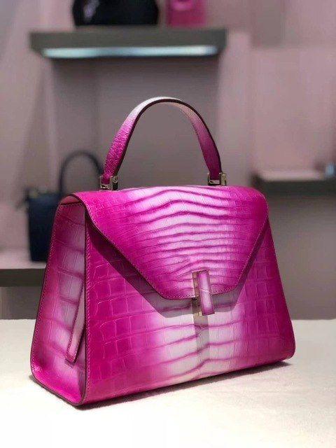 90f193d49f646 2018 new 100% genuine real crocodile skin lady shoulder bag women tote bag  top handle contrast colors top handle shoulder bag