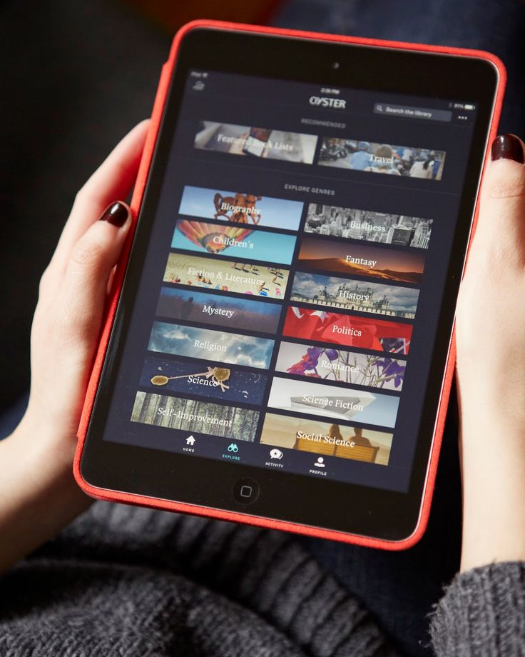 Oyster: For $9.95/month, you can read half a million titles, from New York Times bestsellers, etc. You can read them on your smartphone, iPad, Kindle, Nook—wherever you can get apps. It's like Netflix for books.