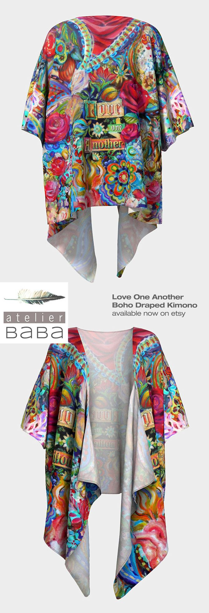 Love One Another Boho - Draped Kimono by AtelierBaba - Your choice of silky knit or poly chiffon fabric - available on etsy