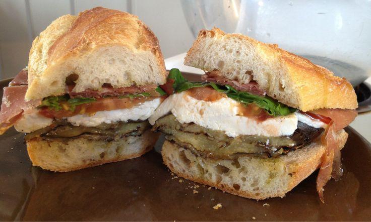 eggplant sandwich with prosciutto mozzarella basil and tomato sandwich ...