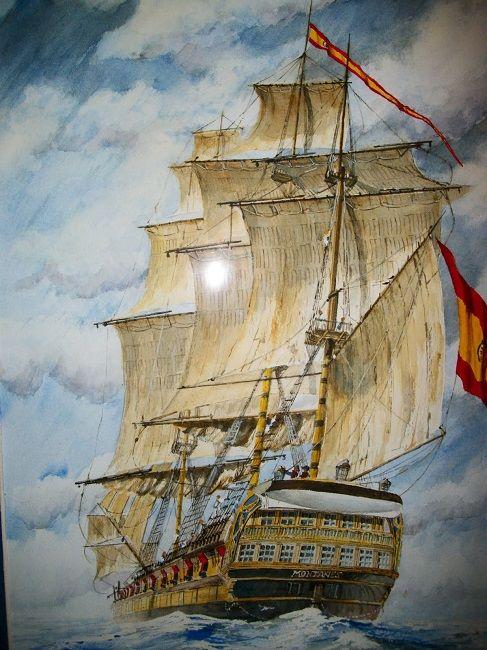 Navío Montañés (74), uno de los supervivientes tras Trafalgar. Cortesía de Rafael Castex. Más en www.elgrancapitan.org/foro