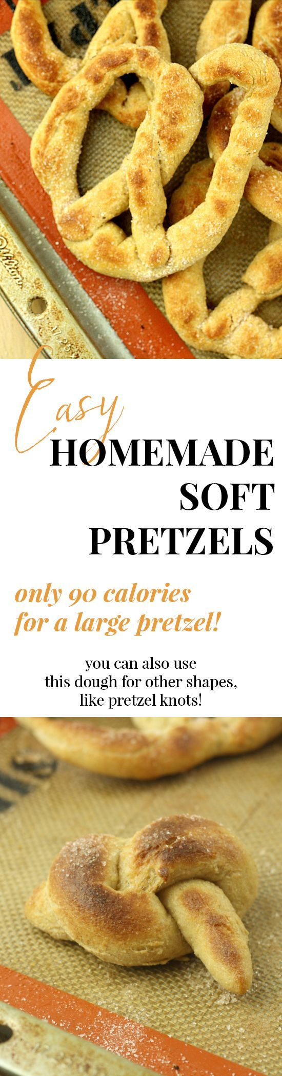 Only 90 calories for a GIANT soft pretzel! This post has lots of helpful pictures and the recipe only takes 45 minutes. I am in love. I'll never buy soft pretzels again!