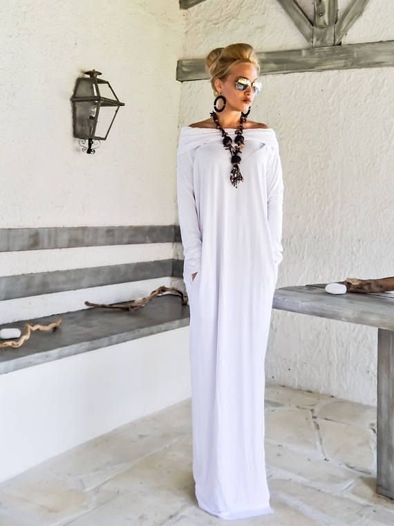 Maxi vestido largo blanco manga cuello alto con bolsillos /