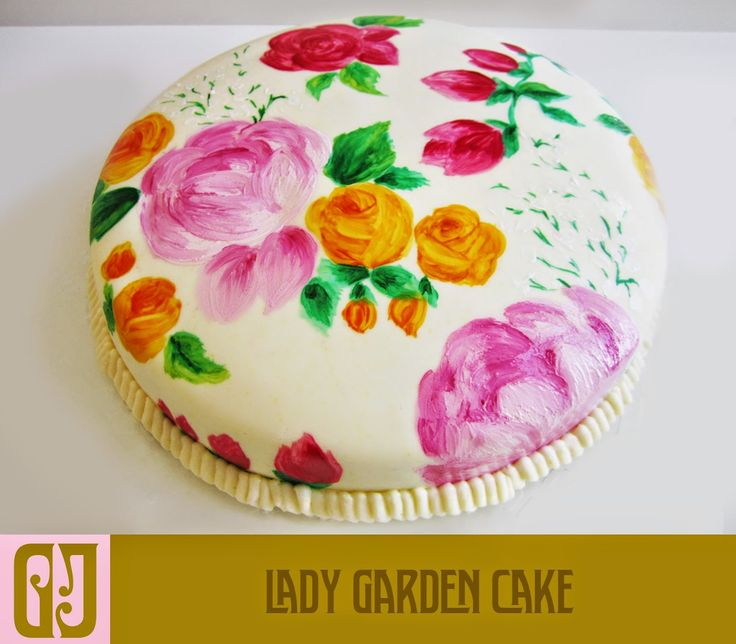 Painted flowers for a romantic Valentine's cake