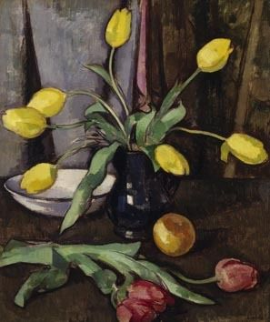 Samuel Peploe - still life with tulips  The subject matter is some tulips in the middle in a vase, with the tulips dropping over the side  The mood is slightly gloom as it is fairly dark colour Materials used was paint and paint brush