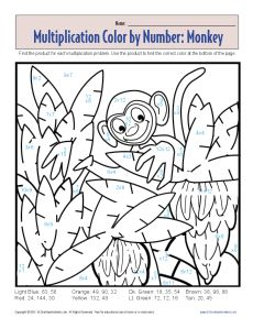 Multiplication Color by Number Monkey Printable Math