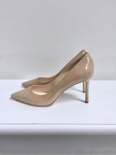 21f3e4d2ea5b Jimmy Choo Romy 85 Nude Patent Leather Pointy Heel Pump Shoe Size 38 8 NEW   650