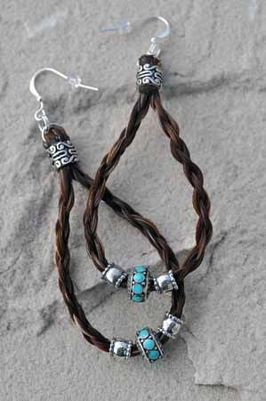 Maille earrings horse hair earrings in silver & turquoise - Retired - www.spirithorsedesigns.com - Find your next pair of earrings